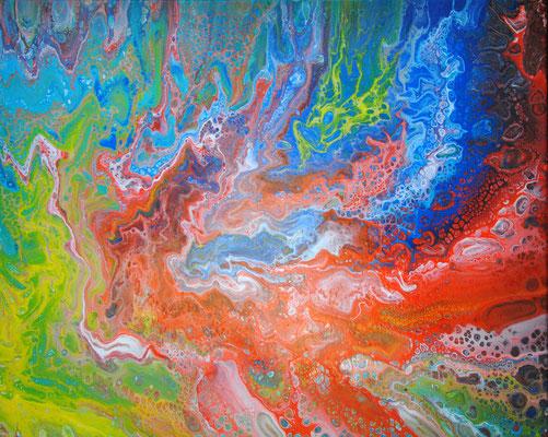 Ohne Titel Nr. 048.1, 70x50 cm, Acryl Fließtechnik auf Leinwand