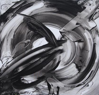 Ohne Titel Nr. 257, 80x80 cm, Acryl mit Tapetenkleister auf Leinwand