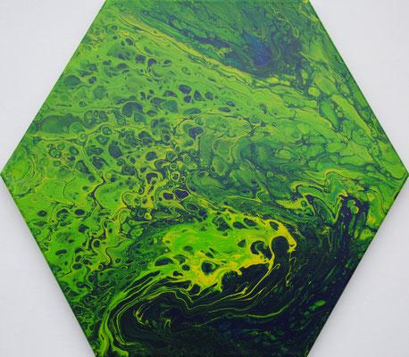 Ohne Titel Nr. 029, 43x50 cm, Acryl Fließtechnik auf Leinwand