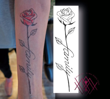 Rose, farbig, handpoke by Marie