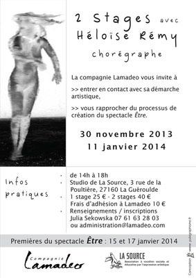 Flyer pour les stages de la chorégraphe Héloïse Rémy