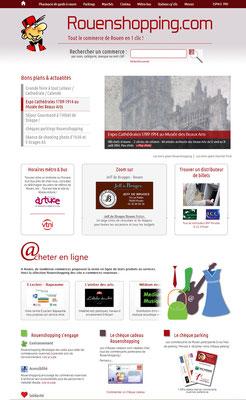 Mise à neuf du graphisme du site à partir de la charte graphique de www.rouenshopping.com