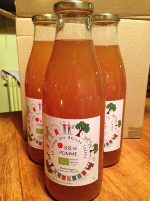 Étiquettes de jus de pomme bio de Tourville sur Arques