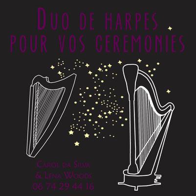 Carte pour la promotion d'un duo de harpes