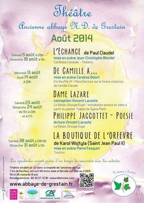Affiche pour le festival de théâtre de l'ancienne abbaye de Notre Dame de Grestain