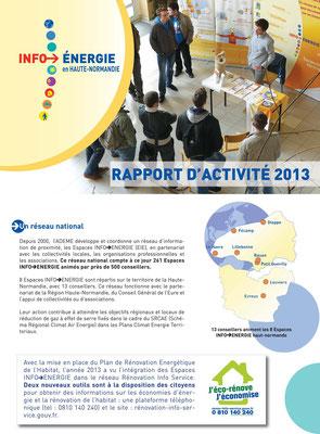 Rapport d'activité 2013 ADEME - Espaces infos énergie