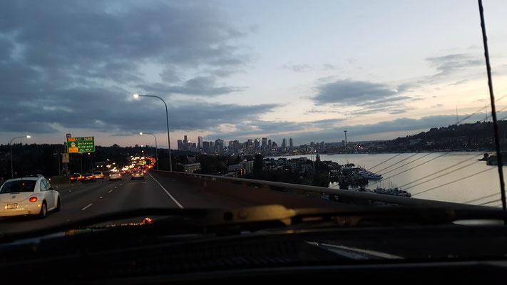 Vor Seattle standen wir noch ziemlich im tau:/