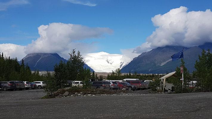 Super Aussicht auf den Gletscher von unserem Campingplatz
