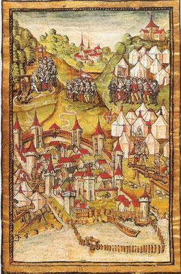 """Belagerung von Stadt Murten, """"Luzerner Chronik"""", 1513"""