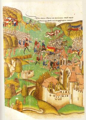 """Schlacht bei Murten 1476, aus der Schillings """"Großen Burgunderchronik"""""""