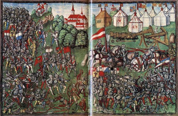 """Schlacht von Grandson 1476, aus der """"Luzerner Chronik"""" des Diebold Schilling (1513)"""