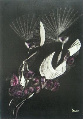 """""""Hot Flower black"""", Malkarton A3, in Privatbesitz"""