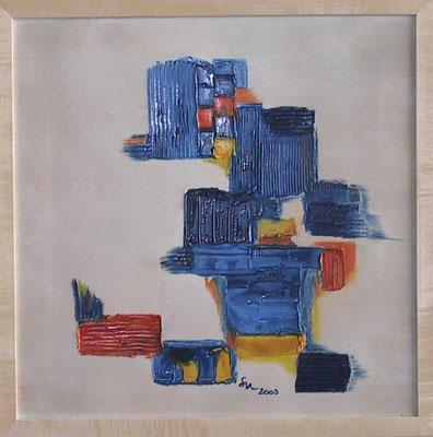 """""""Hüte"""", Malplatte 50 x 50, in Privatbesitz"""