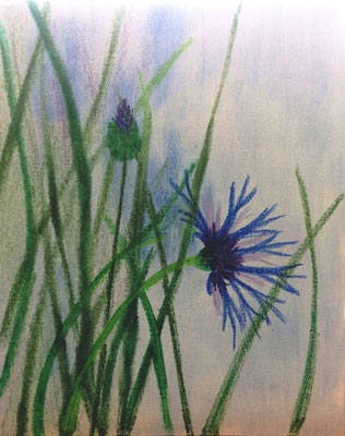 """Kornblume in Uder"", Malplatte 60 x 50,  in Privatbesitz"