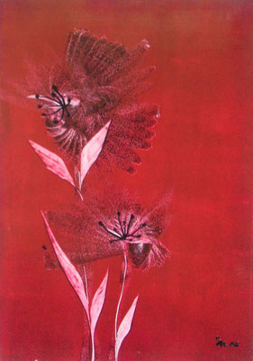 """Hot Flower red"", Malkarton A3, in Privatbesitz"