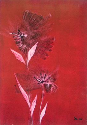 """""""Hot Flower red"""", Malkarton A3, in Privatbesitz"""