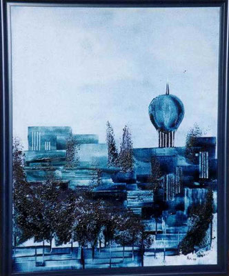 """City blue"", Malplatte 40 x 30, 160 €"
