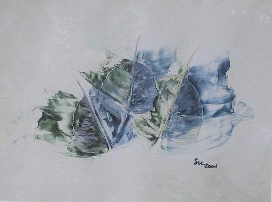 """""""Blätter blau-grün"""", Malkarton 30 x 40, in Privatbesitz"""