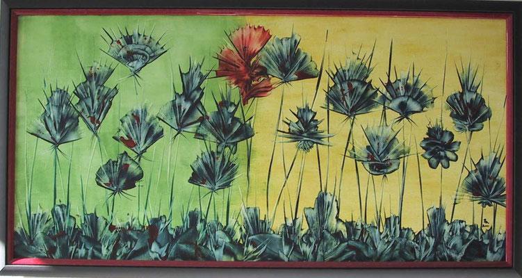 """""""Rot in Blau"""", Malplatte 50 x 100, 300 €"""