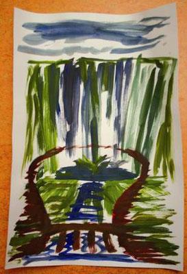 """""""Seljalandsfoss""""                Aquarellpapier A2   (Foto: Karin Girlatschek)"""