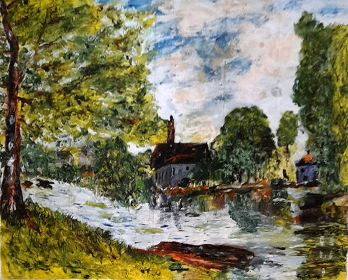 Frühling in Moret-sur-Loing (nach Alfred Sisley)