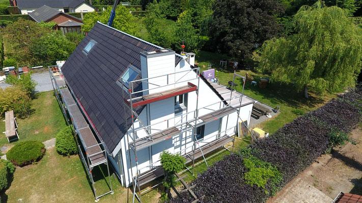 Bardage avec isolation d'une façade nord en Brabant Wallon