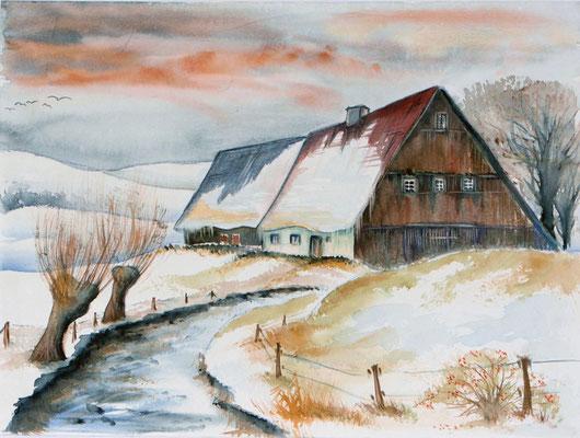 Hof im Winter 36x48
