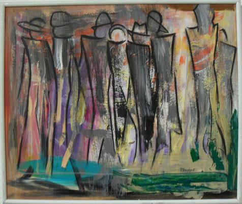 Fantasie mit schwarzem Pinsel auf Farbresteplatte 50x60