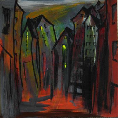 es ist eng in der Stadt 40x40 Fantasie mit schwarzem Pinsel auf Farbresteplatte