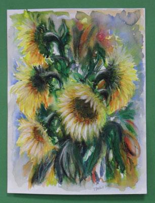 Sonnenblumen Mischtechnik Aqu.-Pastell 47x36