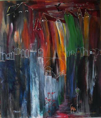 Fantasie auf Farbresten - Abendrot 60x70