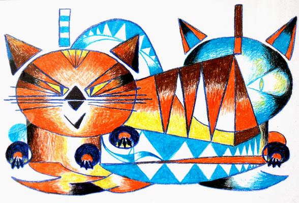 Katzen 40x50