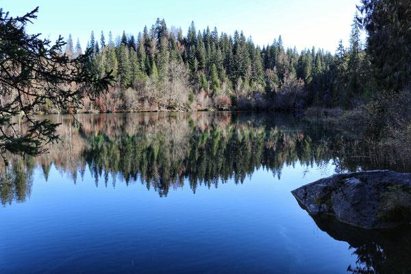 auch am Crestasee ist die Spiegelung unglaublich schön