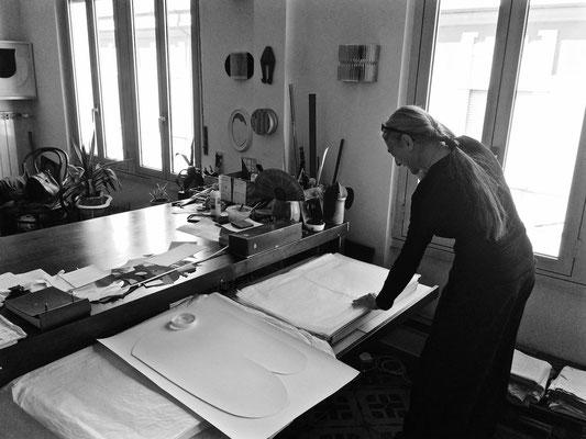Paola Fonticoli nello studio 2017 - foto di Dominique Rondez
