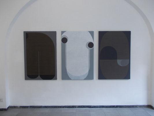 """""""Geometrie emotive"""" opere in mostra (acrilici su tela cm120x80 ciascuna) presso Hyunnart Studio, Roma 2019"""