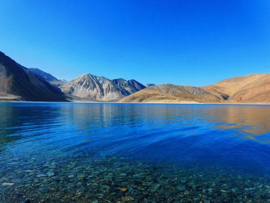 ... zum überwältigend schönen Hochgebirgssee Pangong Tso auf 4250 Metern Höhe