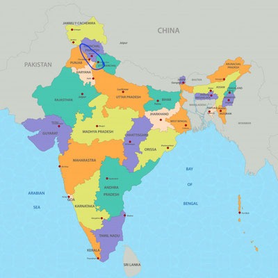 Alle Orte der Reise liegen hoch im Norden Indiens, am Fuß des Himalaya