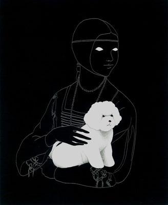 トリミング犬を抱く貴婦人 (「白テンを抱く貴婦人」より)  Copyright (c) ako sato. all right reserved.