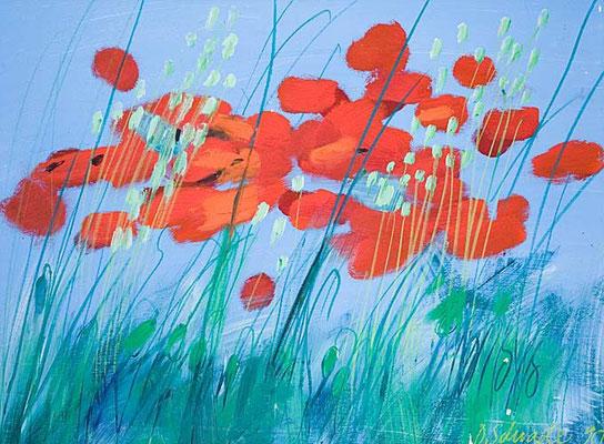 Dorothea Schrade, Im Gras, 1990, Öl/Karton, 75x100 cm