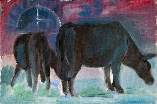Dorothea Schrade, Dolly mit Albania, Öl/Leinwand, 20x30 cm