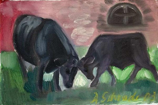 Dorothea Schrade, Großmutter und Enkel, Öl/Leinwand, 20x30 cm