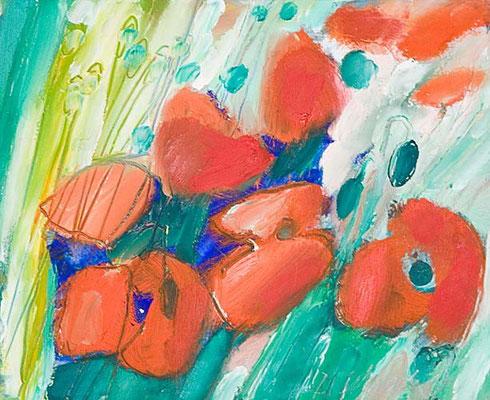Dorothea Schrade, Im leichten Wind, 1994, Öl/Karton, 20x25 cm