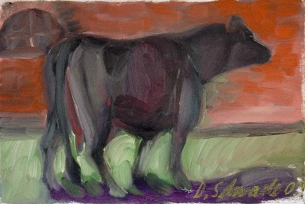Dorothea Schrade, Die gute alte Dolly, Öl/Leinwand, 20x30 cm