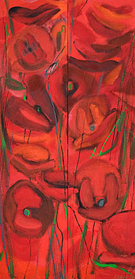Dorothea Schrade, Mohndyptichon, 1998, ÖL/LW, 205x100 cm