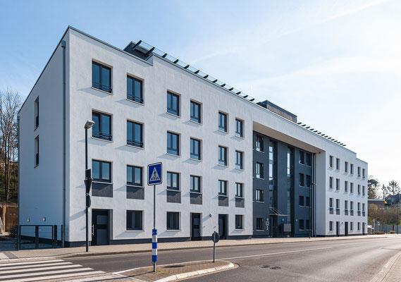 Neubau für gefördertes Wohnen in Kerpen-Horrem, Ansicht Straßenseite