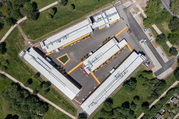 Dreikönigsgymnasium Interimscontainer, Luftbild