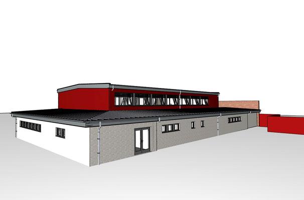 Turnhalle Don-Bosco-Schule Leverkusen, Animation Ansicht Süd-Ost mit Haupteingang