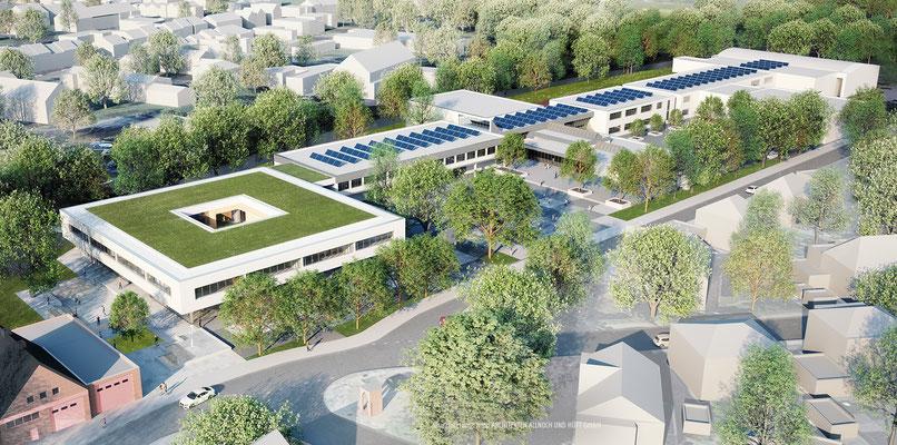 Wettbewerb Ersatzneubau Anne-Frank-Gesamtschule Düren-Mariaweiler, Vogelperspektive