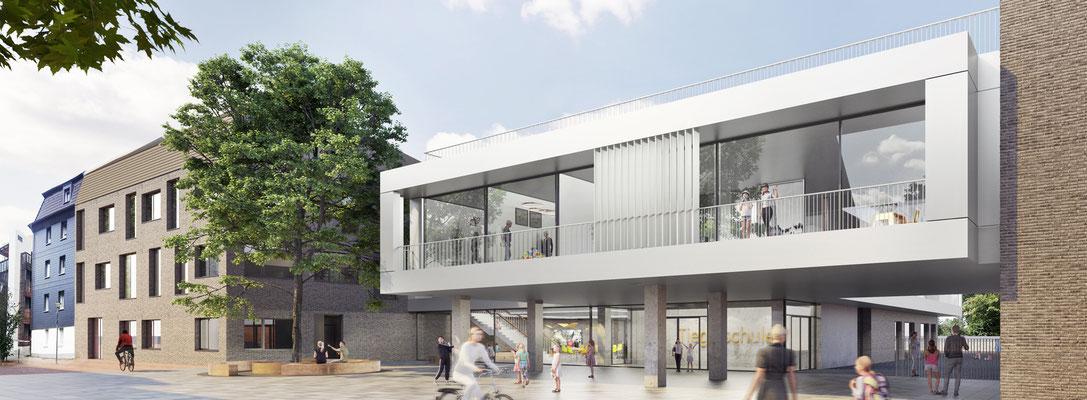 Anerkennung im Wettbewerb Neubau Tiegelschule Essen, Blick von der Tiegelstraße auf den Eingangsbereich