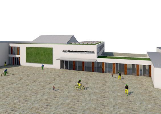 Generalplanung zur Erweiterung Josef-Schaeben-Grundschule Weilerswist, Vorplanung Ansicht West